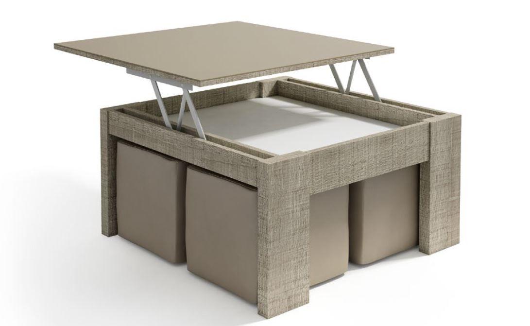 Mesas elevables con puff mesa centro cuadrada elevable 4 for Mesa centro puff